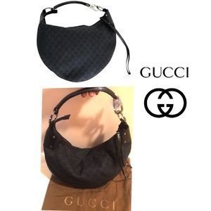 0b4b8f5a8de Gucci Blk Denim Monogram Large Half Moon Hobo bag